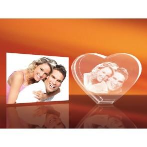 Foto 3D en forma de corazón en cristal Viamant  (2 personas)