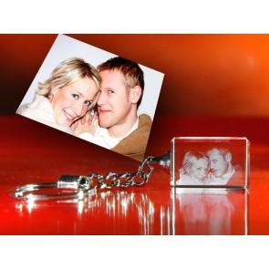 Foto 3D en el llavero Cristal Viamant iluminado (1 persona)